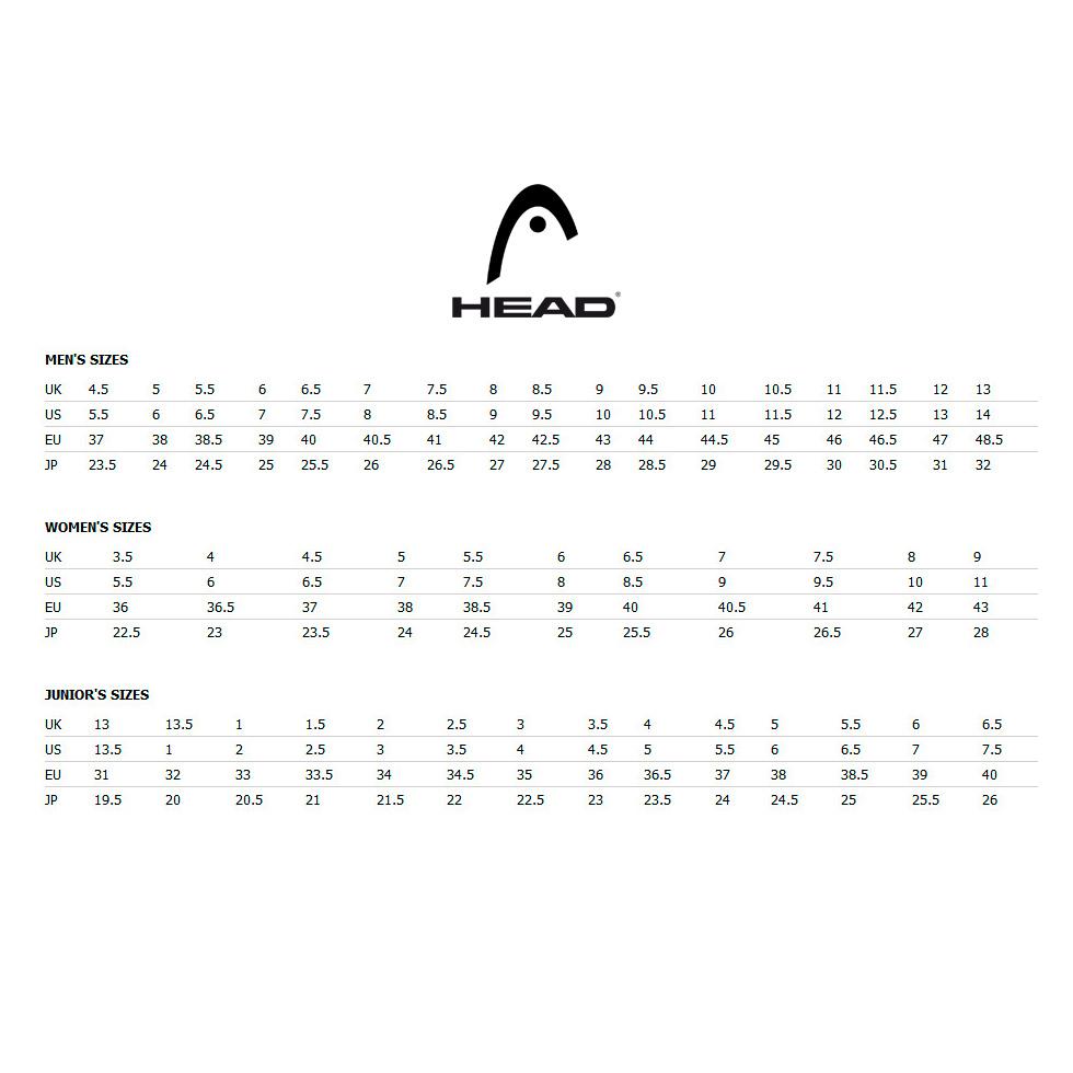 Guía de tallas Zapatillas Head